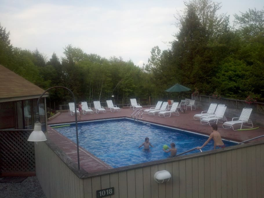Common pool heated in the summer.  The poolhouse has laundry and a sauna.