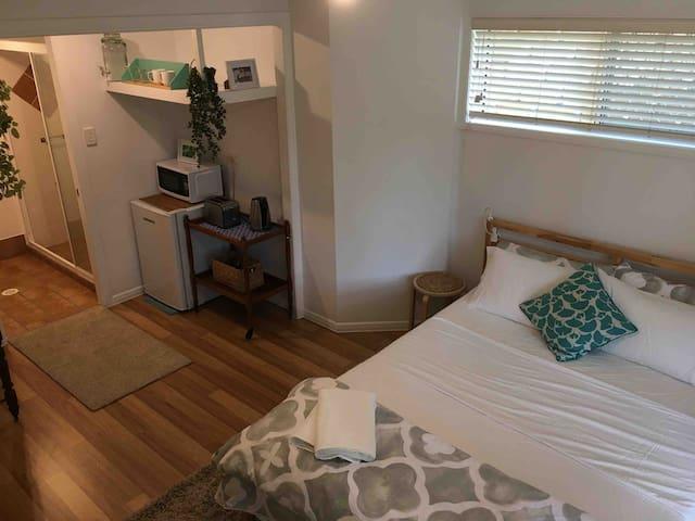 Open plan, kitchenette and private en-suite bathroom
