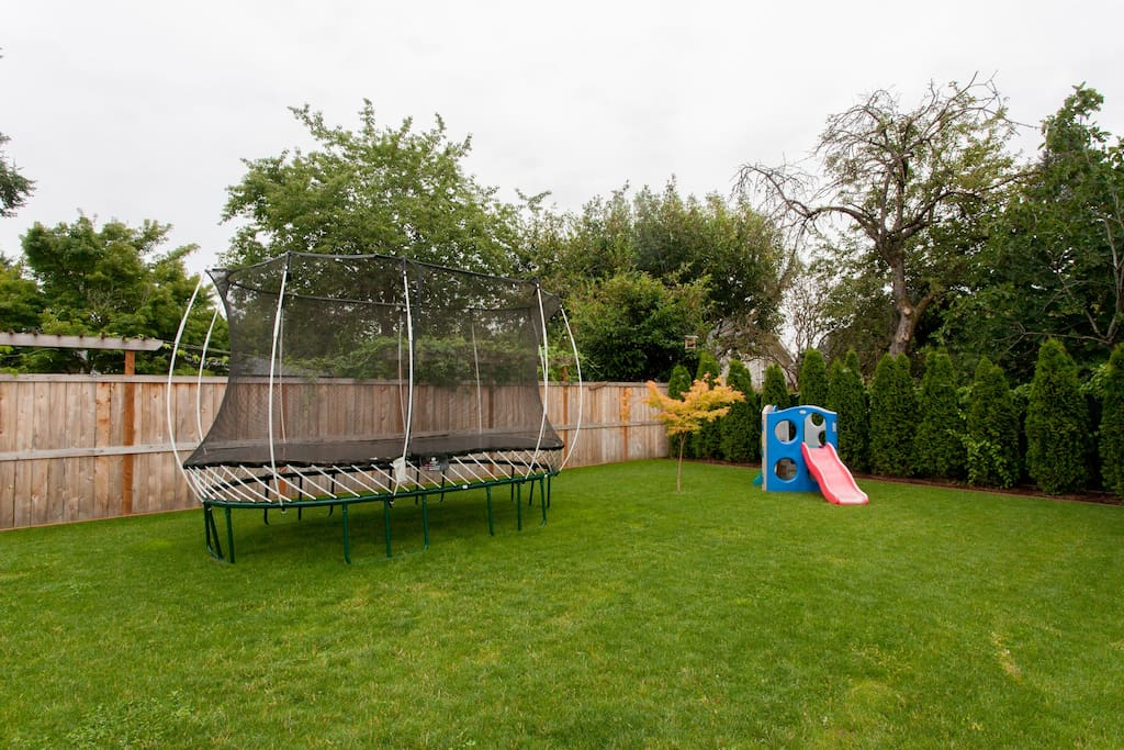 Backyard: Kids toy and Springsfree Trampoline