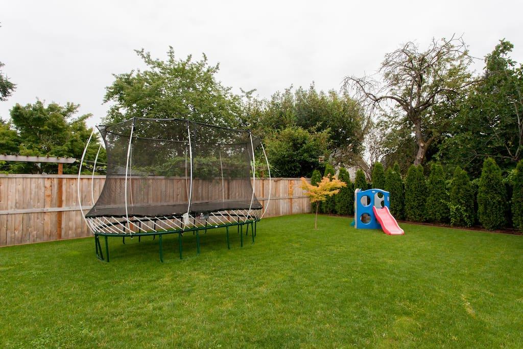 Backyard: Kids toy and Springsfree Trampoline