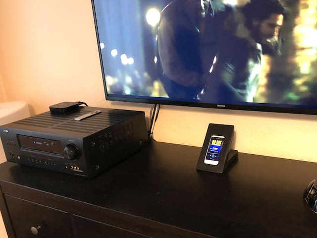Denon amplifier and a custom build unit with a player for Spotify music, or YouTube. Spotify is fully paid for, so no commercials between music tracks.
