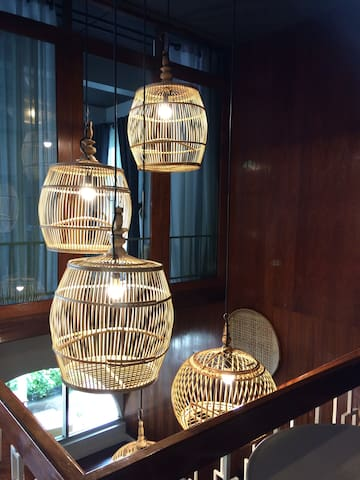 Bird cage light shades going up the stairs