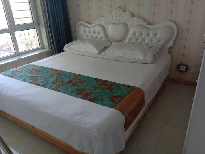 珠江广场。欧式装修,50平,1室1厅。温馨舒适。金太阳公寓欢迎你。。