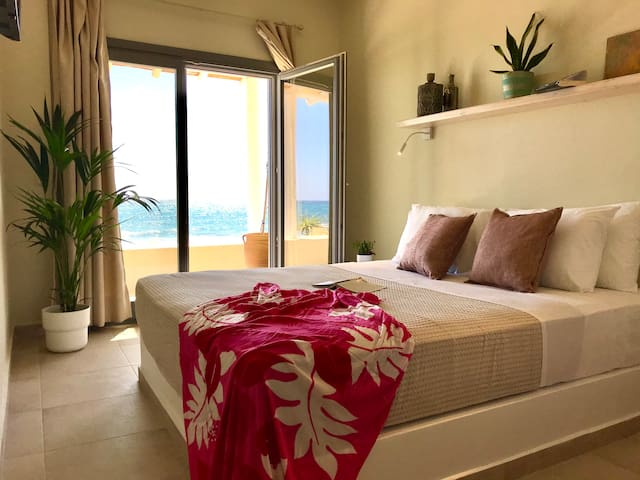 The bedroom is with a double bed and view to the sea. You can enjoy increadible sunrise from the balcony.