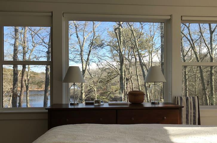 Master bedroom overlooking the pond.
