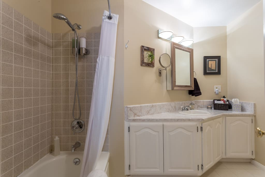 Shared, full bath is 5 steps down hall. Soft towels, large countertop, magnified wall mirror, hair dryer, shaving cream, tooth brush & paste.  Shower has water filter for soft skin and hair. Includes Nioxin Shampoo & Conditioner, and homemade peppermint soap.