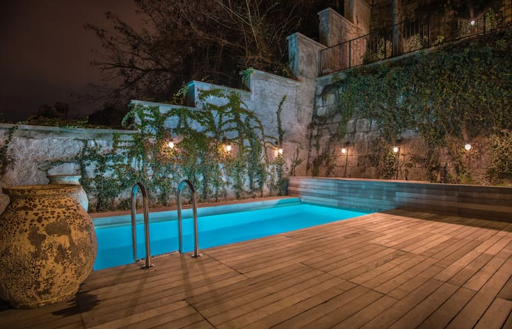 Heated pool at luxurious Stella Sky apartments.