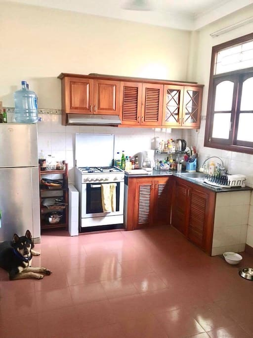 Fully-equipped kitchen with stove, oven, kettle, juicer, blender, toaster, slow cooker, rice maker, and western coffee machine