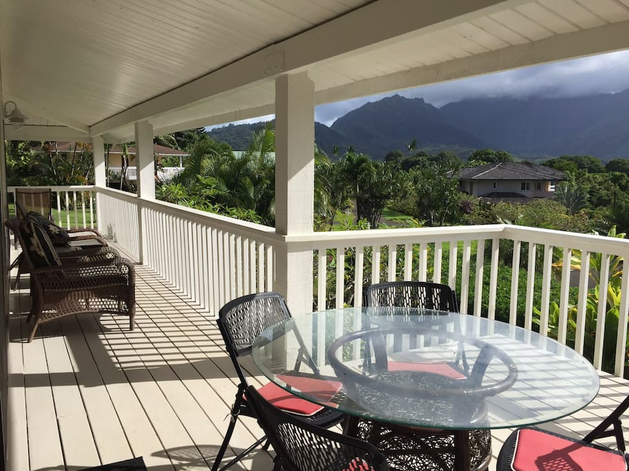Everywhere you look enjoy a tropical paradise, dining area with BBQ, lanai deck wraps around the whole house, providing lots of space to relax, unwind, enjoy.