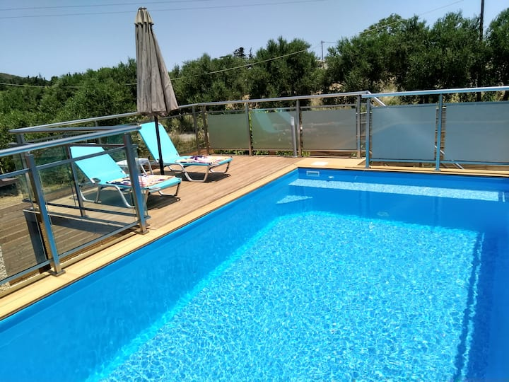 """Erofili""stone family house private  heated  pool"