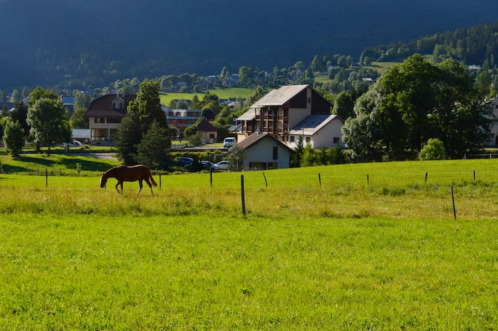 Ruim en licht appartement in levendig Alpendorp