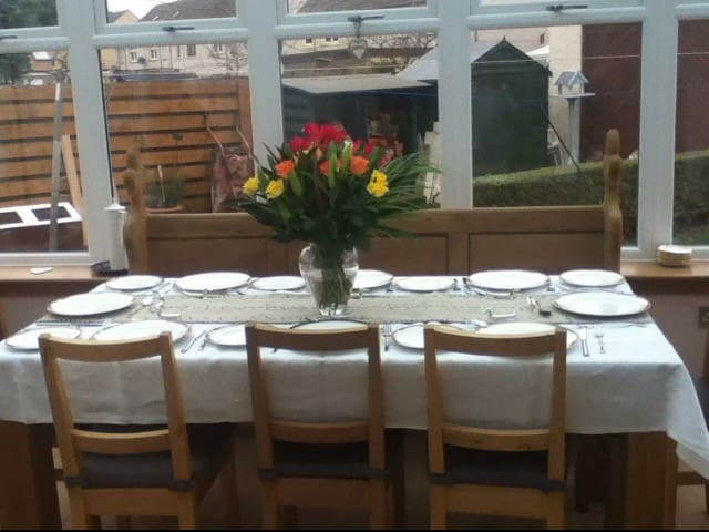 Dining table in the conservatory