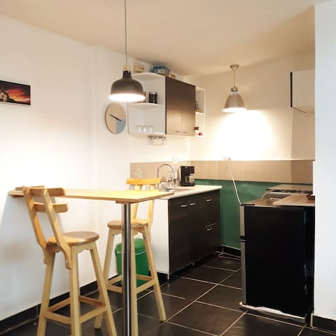 Equiped kitchen with stove, oven, coffeemaker, fridge, freezer and a bar to sit on.