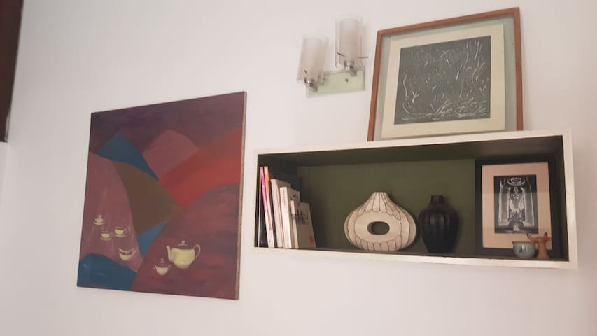 Feature wall and  book shelf