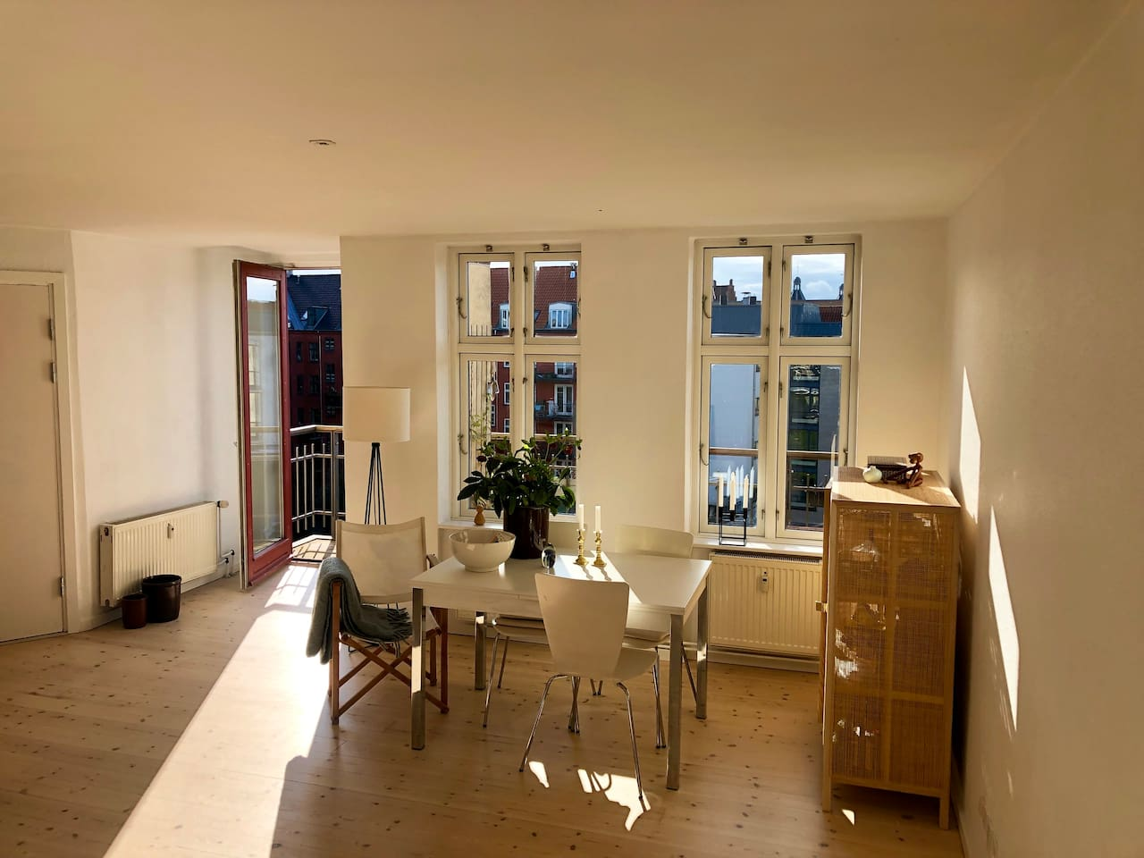 Kitchen and dinning room with private balcony
