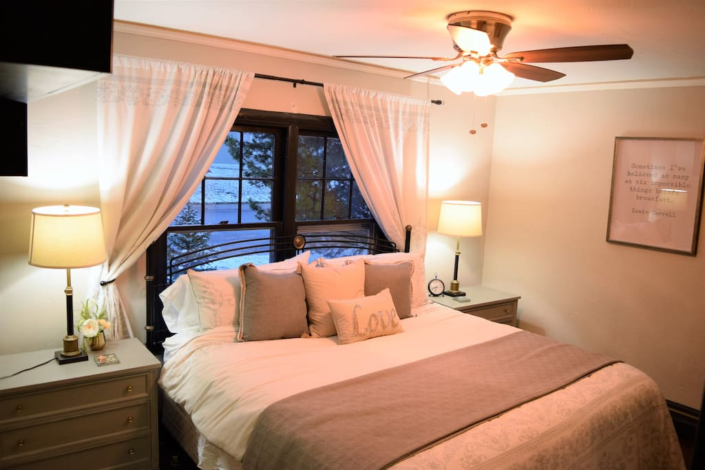 Our master bedroom includes a luxurious king size bed!