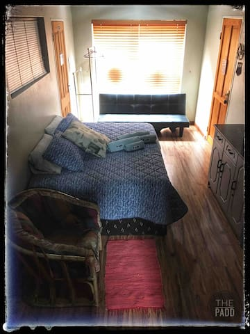 2nd Bedroom, Double bed size, leads to garage