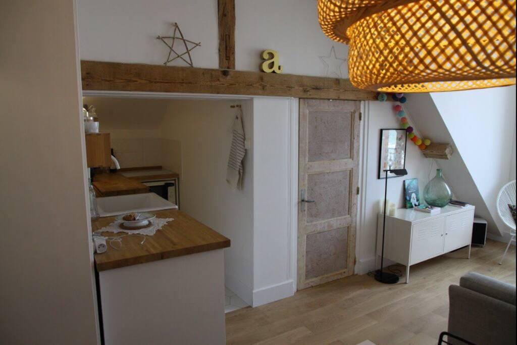 La cuisine ouverte sur le salon/salle à manger.