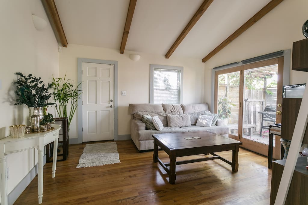 Beautiful vaulted ceilings and exposed beams. Tons of natural light.