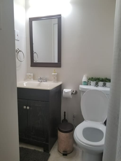 This bathroom is shared by the two bedrooms we rent. If you rent both rooms, it is private to you. It is newly remodeled and has a gorgeous shower.