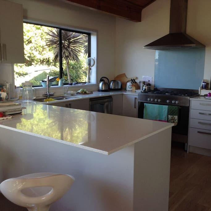 Kitchen with sparkling benchtop