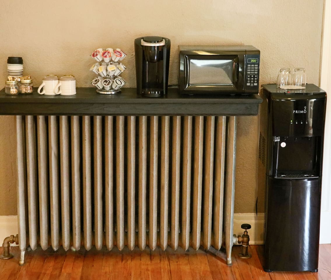 Not only will this beautiful 128-year old original boiler heater keep you nice and cozy, but it also serves as a full coffee station. You also have hot and cold water available in your room.