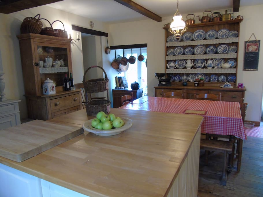 The large Farmhouse kitchen.