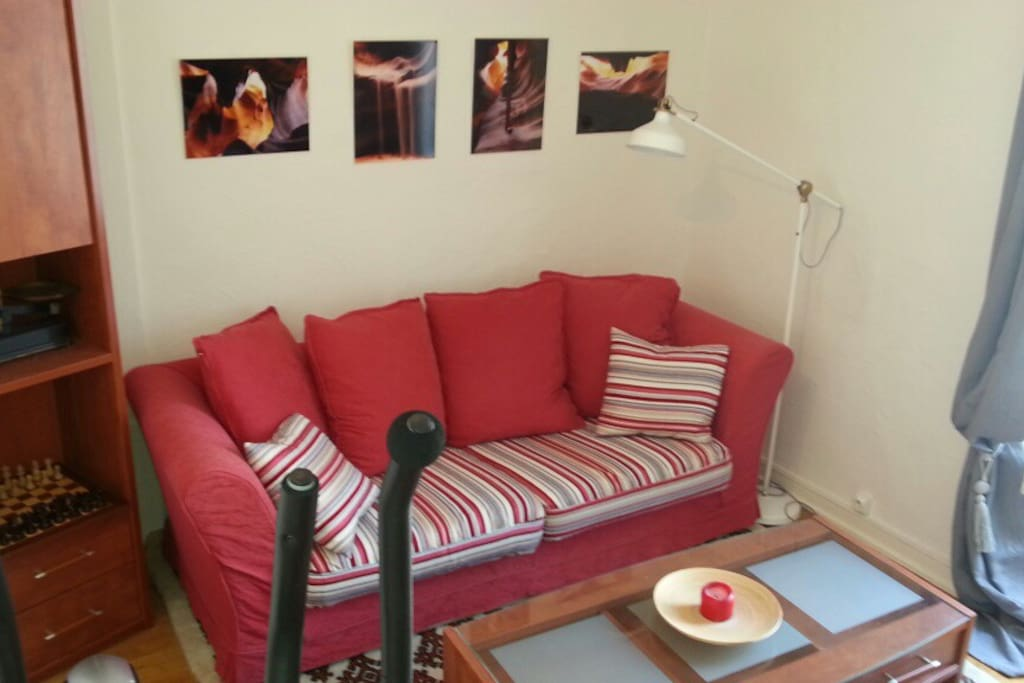 Le canapé du salon , convertible en lit deux personnes avec sommier à lattes.