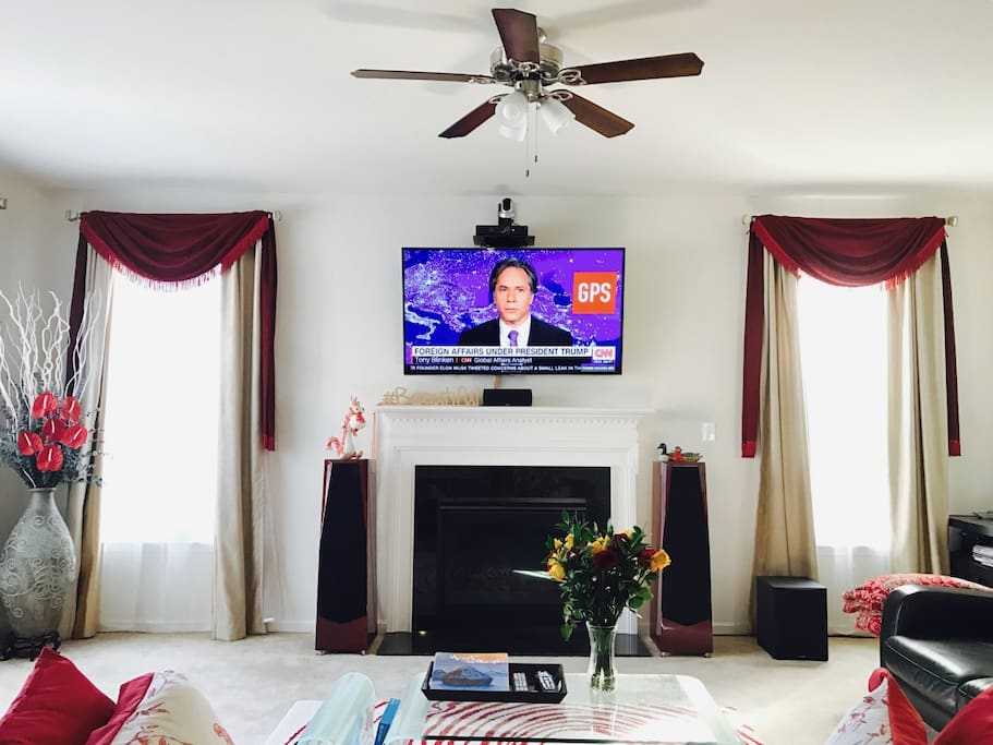 family room with FIOS (prime) and 7.1 home theater