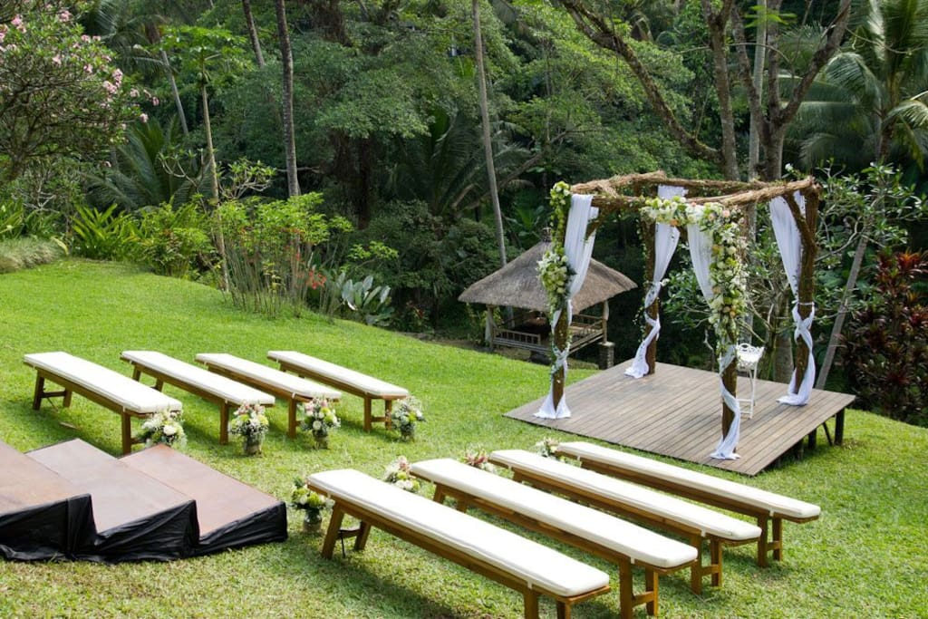Garden setting - the gazebo/altar is built at the bottom of the valley
