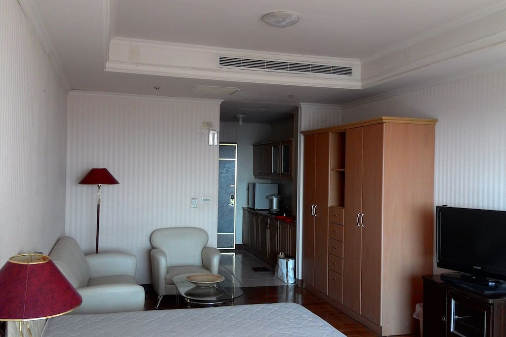 Living room with silent air conditioner