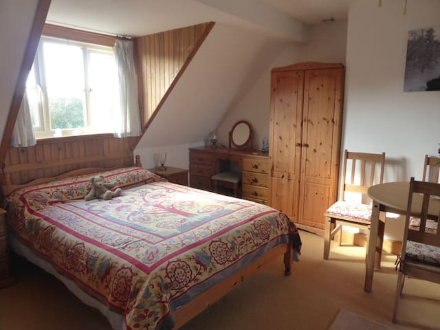 Light and airy attic room with kitchenette.