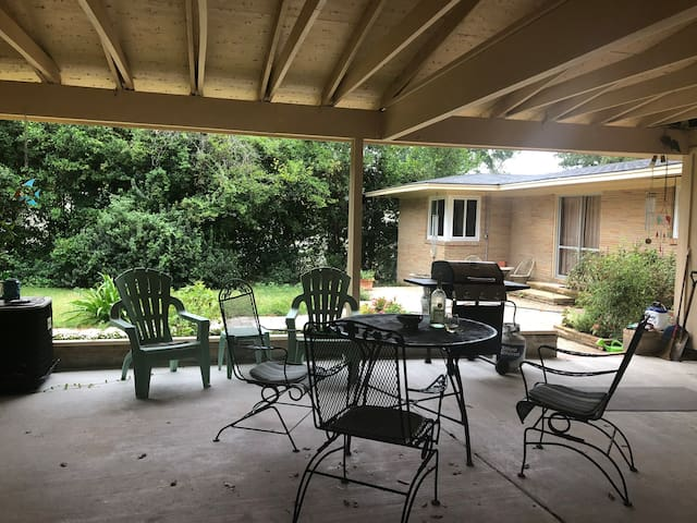 You are welcome to grill out here, sit outside and have your meals, or just hang out and we will give you privacy out here during your stay.