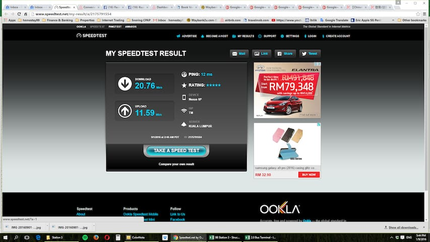 Unlimited Internet Speed 30Mbps.  Actual Speed Test. Download 20.76Mbps. Upload 11.59Mbps.