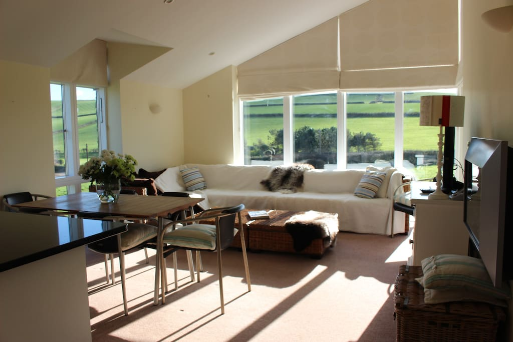 open plan living room with panoramic views