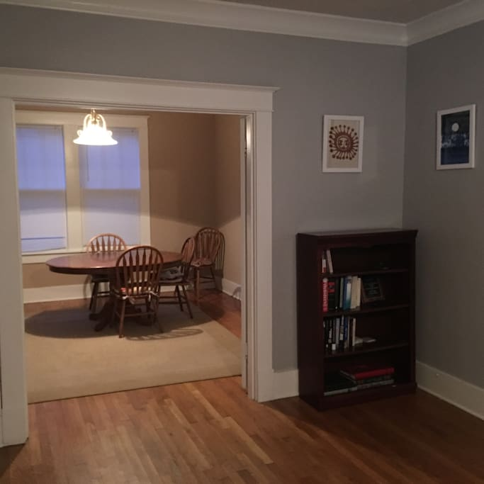 Living room into separate dining room.