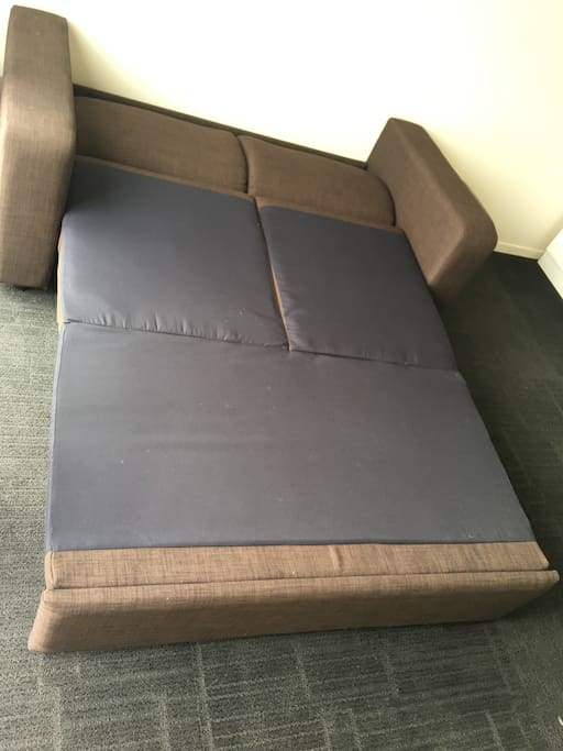 Sofa Bed with a firm mattress. Not a spring mattress so guests and sleep comfortably.