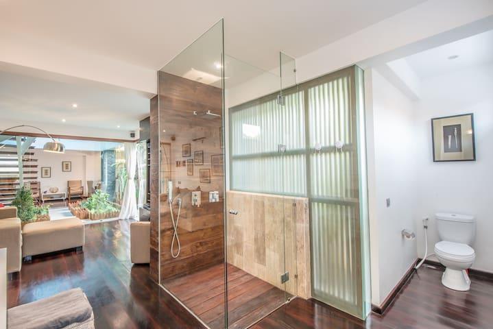 Living room share bathroom
