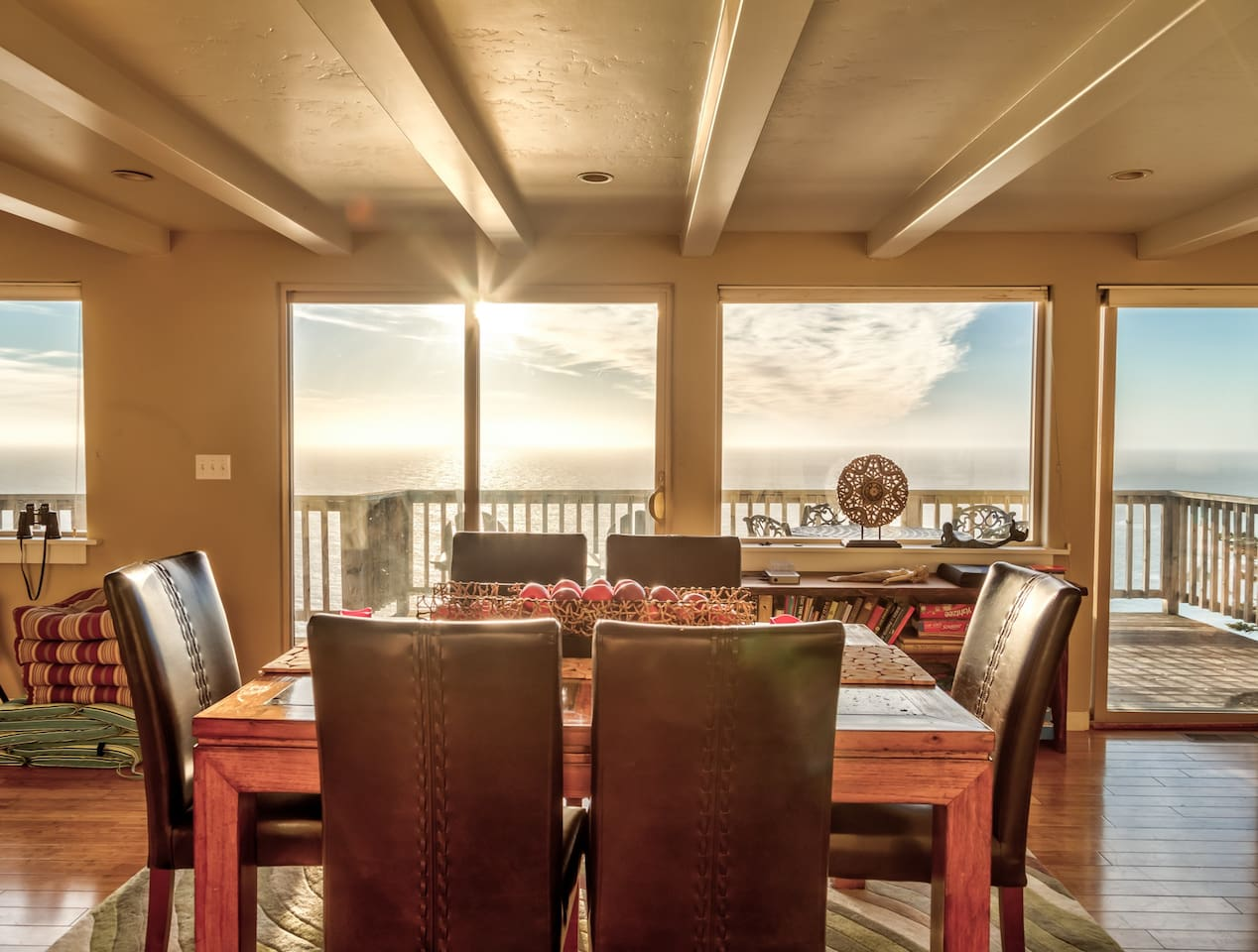 Designer dining room table with spectacular ocean views.  Seats 6.
