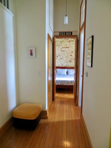 Bedroom, hallway and bathroom doorway