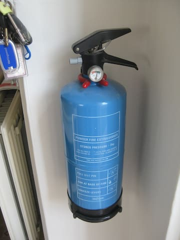 Fire extinguisher, in kitchen.