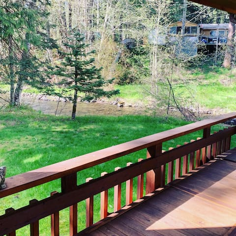 enjoy the view of Big Creek from the deck