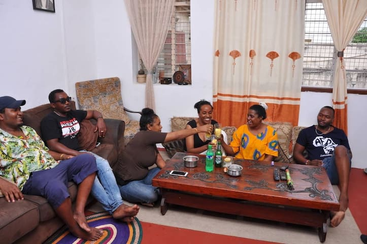 Meet new friends and share travel tips and stories in our big living room. We have speakers for music, and television for movie nights. This is a shared space.