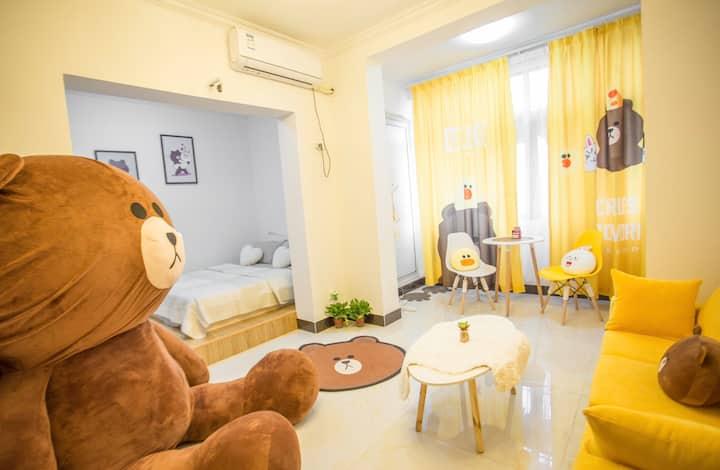 遇见阳光~布朗熊主题房~萍乡学院~武功山