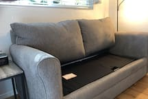 Remove cushions to fold out bed