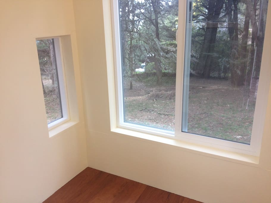 Hardwood floor and double glazed windows in the treehouse