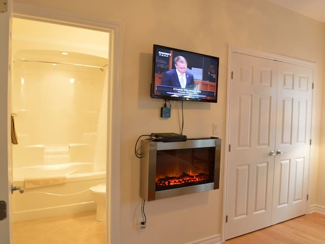 TV, Fireplace Room View