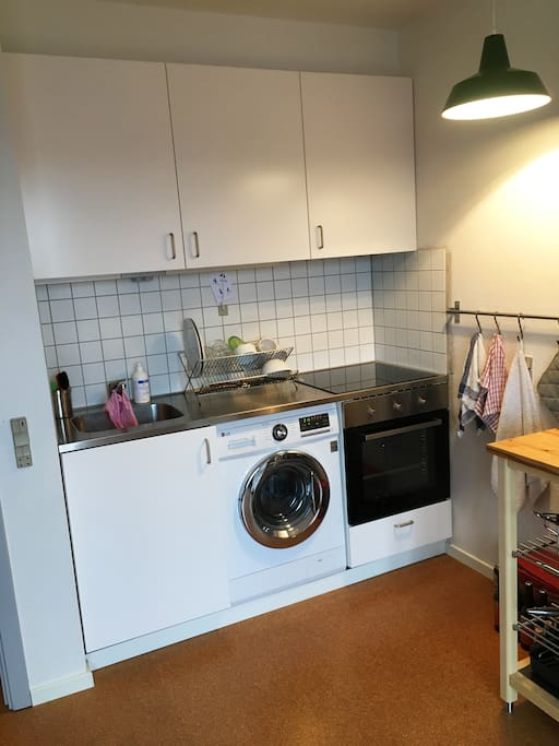 new kitchen with convention oven, induction stove and washing machine