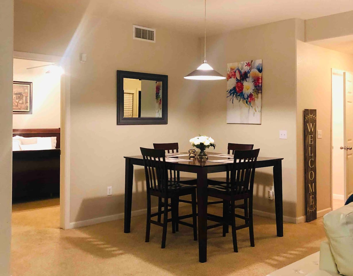 Dining room with view of spacious master bedroom. Plenty of room for you and your group!