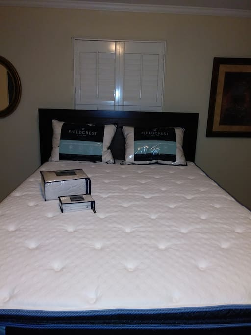 a new battery new mattress new sheets and feather pillows